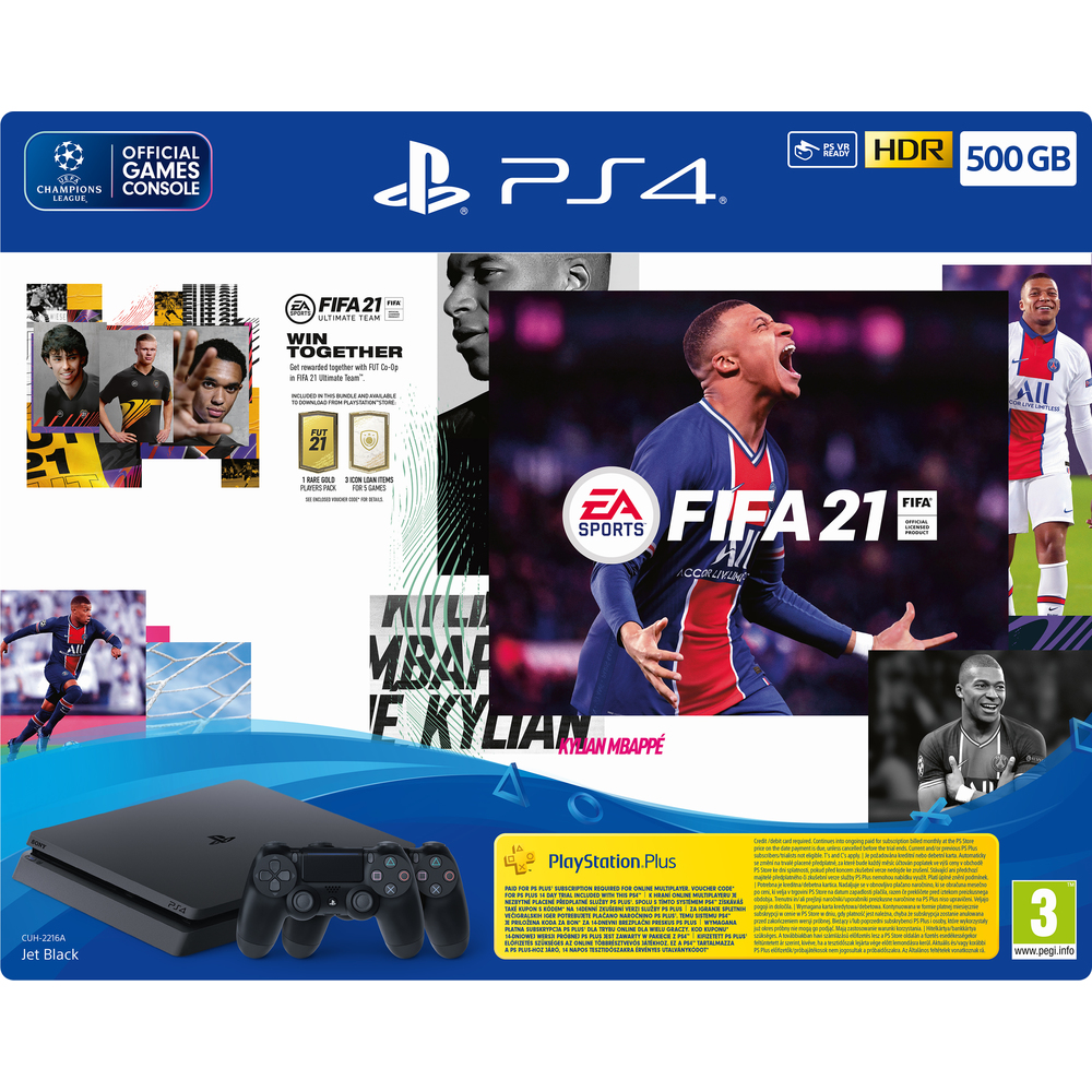 PS4 500GB + FIFA 21 + 2xDS4